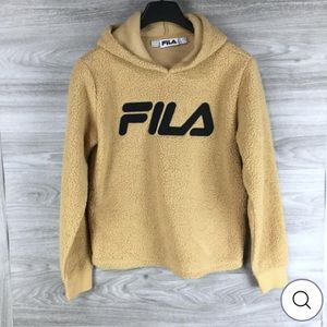 Fila Tan Faux Sherpa Pullover Hoodie Size Large